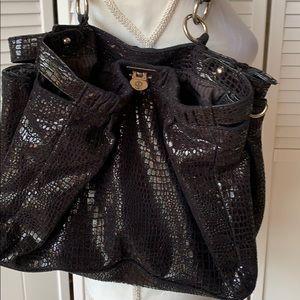 Shiny black bag embellished croco design